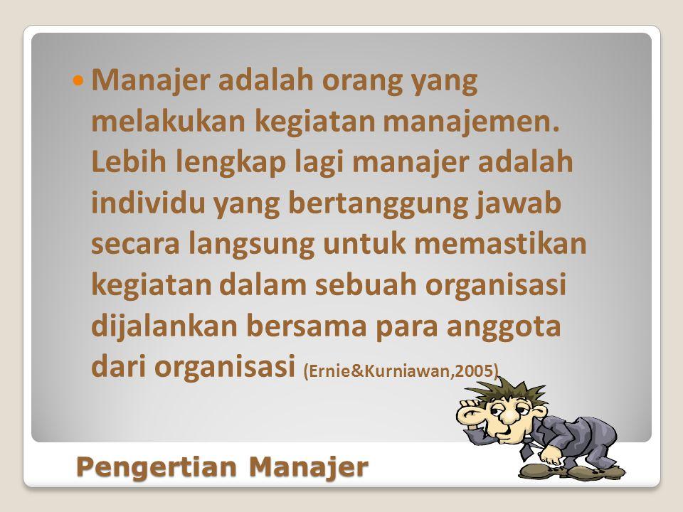 Manajer adalah orang yang melakukan kegiatan manajemen