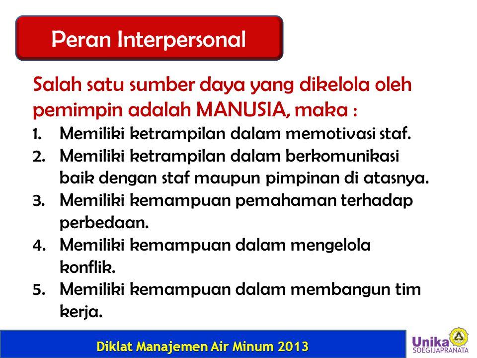 Peran Interpersonal Salah satu sumber daya yang dikelola oleh pemimpin adalah MANUSIA, maka : Memiliki ketrampilan dalam memotivasi staf.