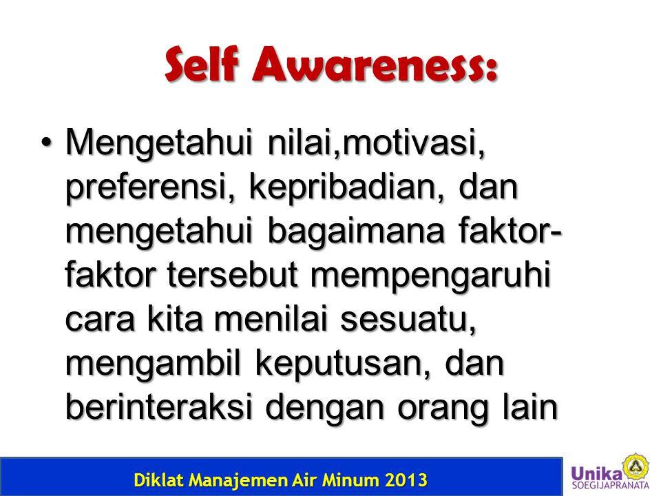 Self Awareness: