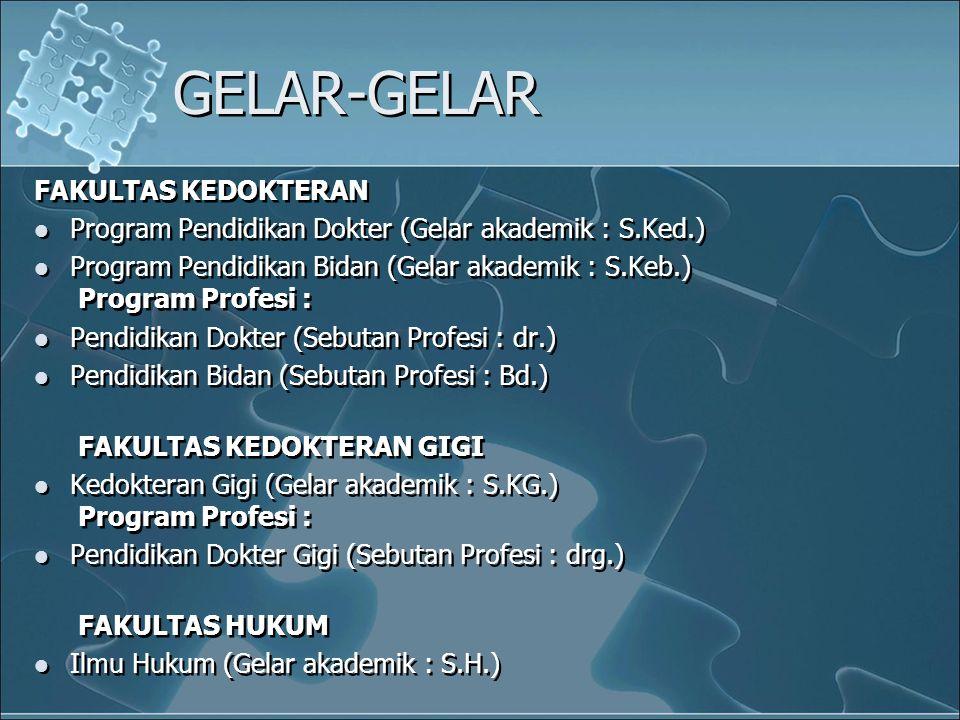 GELAR-GELAR FAKULTAS KEDOKTERAN