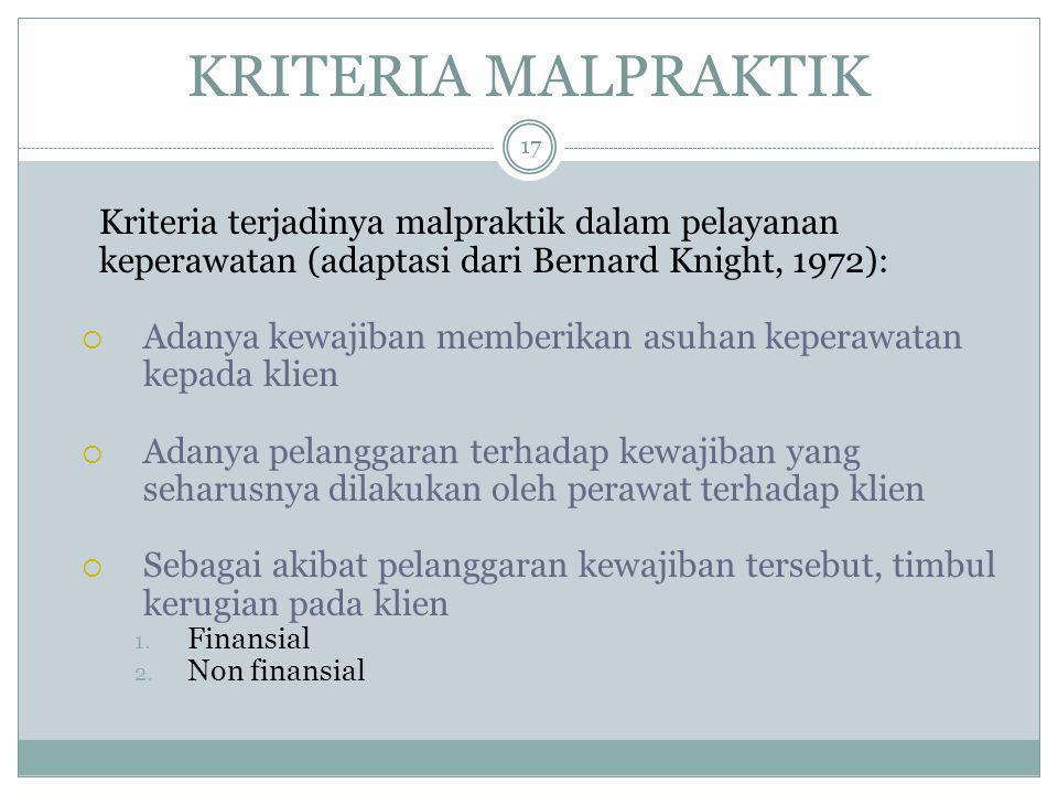 KRITERIA MALPRAKTIK Kriteria terjadinya malpraktik dalam pelayanan keperawatan (adaptasi dari Bernard Knight, 1972):