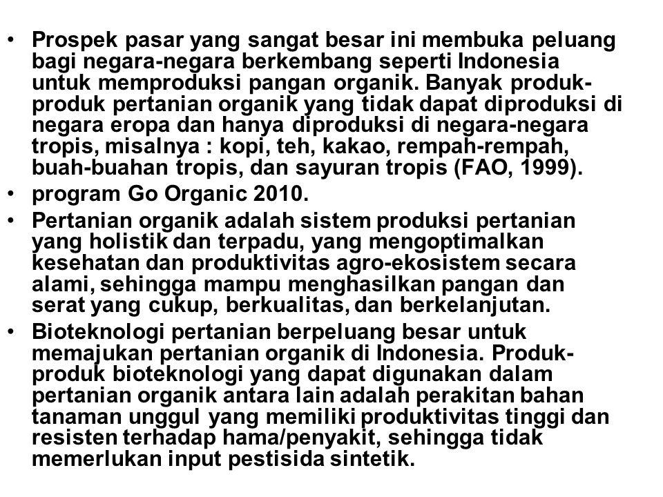 Prospek pasar yang sangat besar ini membuka peluang bagi negara-negara berkembang seperti Indonesia untuk memproduksi pangan organik. Banyak produk-produk pertanian organik yang tidak dapat diproduksi di negara eropa dan hanya diproduksi di negara-negara tropis, misalnya : kopi, teh, kakao, rempah-rempah, buah-buahan tropis, dan sayuran tropis (FAO, 1999).