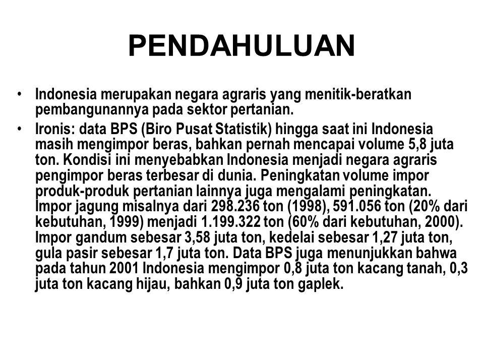 PENDAHULUAN Indonesia merupakan negara agraris yang menitik-beratkan pembangunannya pada sektor pertanian.