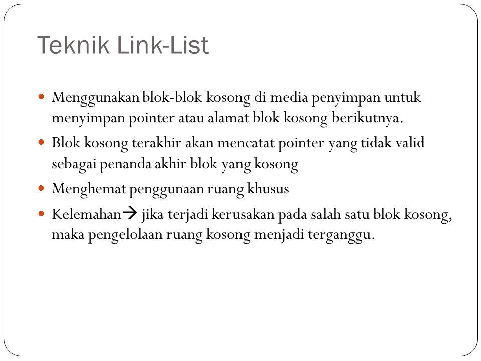 Teknik Link-List Menggunakan blok-blok kosong di media penyimpan untuk menyimpan pointer atau alamat blok kosong berikutnya.