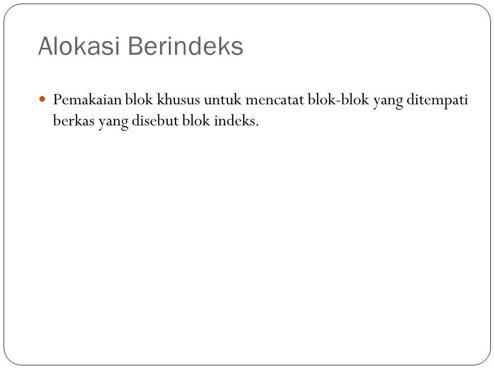 Alokasi Berindeks Pemakaian blok khusus untuk mencatat blok-blok yang ditempati berkas yang disebut blok indeks.