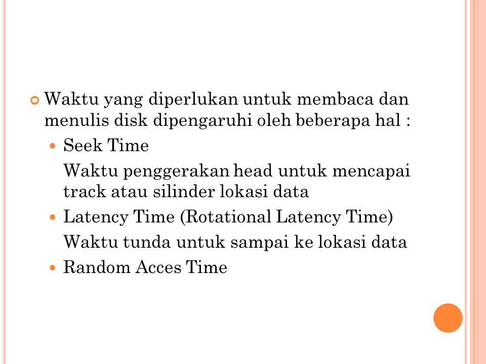 Waktu yang diperlukan untuk membaca dan menulis disk dipengaruhi oleh beberapa hal :