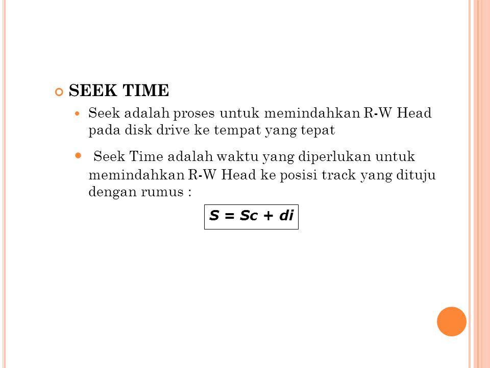 SEEK TIME Seek adalah proses untuk memindahkan R-W Head pada disk drive ke tempat yang tepat.