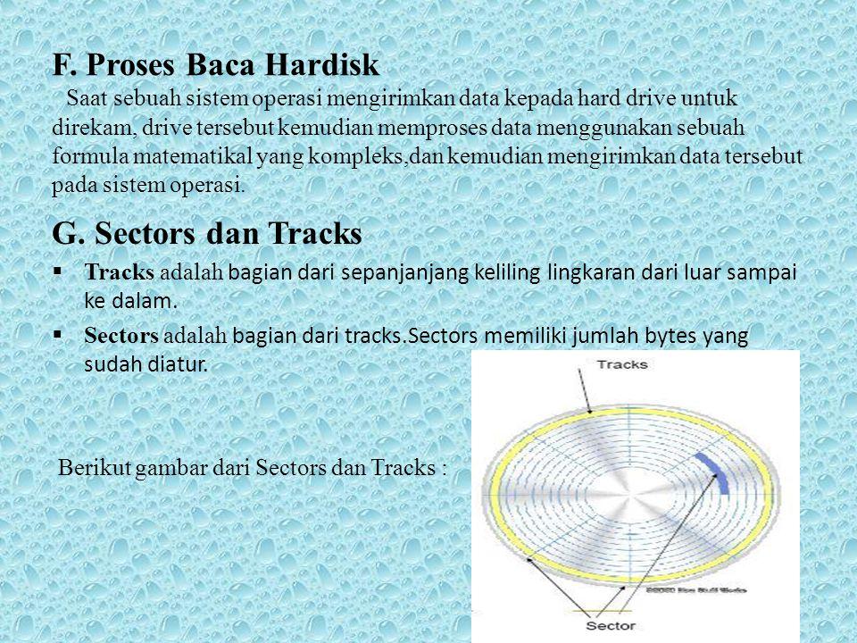 F. Proses Baca Hardisk Saat sebuah sistem operasi mengirimkan data kepada hard drive untuk direkam, drive tersebut kemudian memproses data menggunakan sebuah formula matematikal yang kompleks,dan kemudian mengirimkan data tersebut pada sistem operasi.
