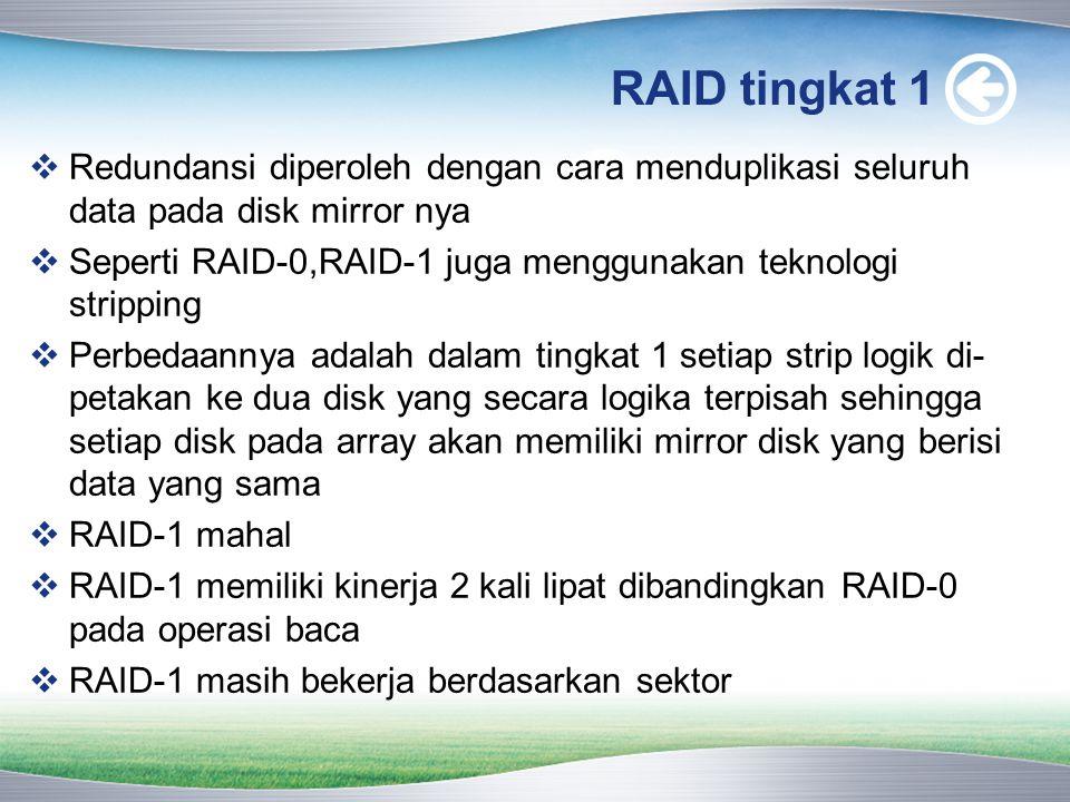 RAID tingkat 1 Redundansi diperoleh dengan cara menduplikasi seluruh data pada disk mirror nya.