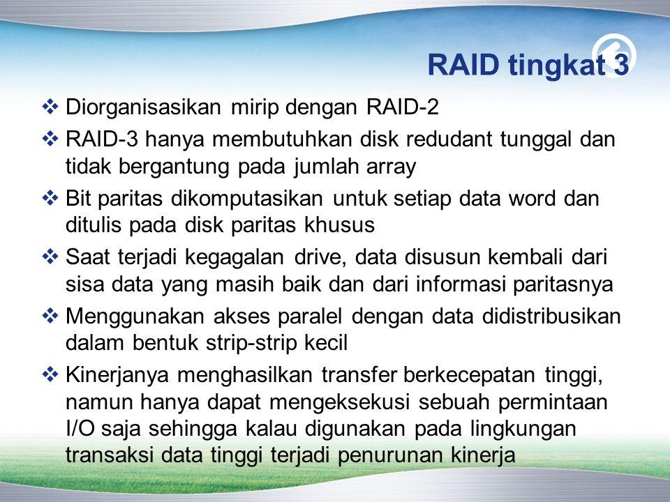 RAID tingkat 3 Diorganisasikan mirip dengan RAID-2