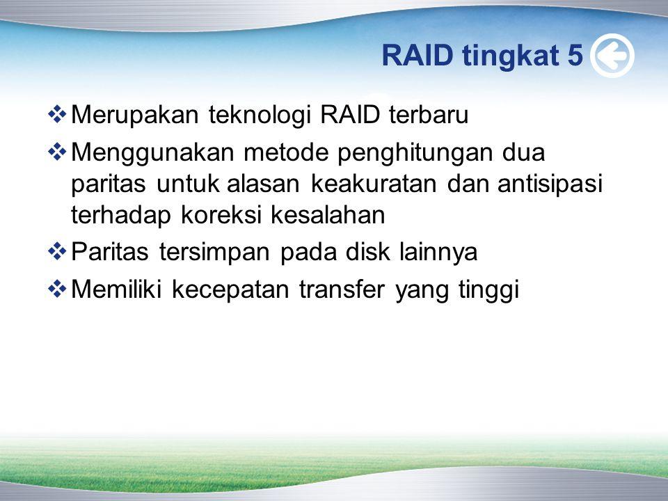 RAID tingkat 5 Merupakan teknologi RAID terbaru