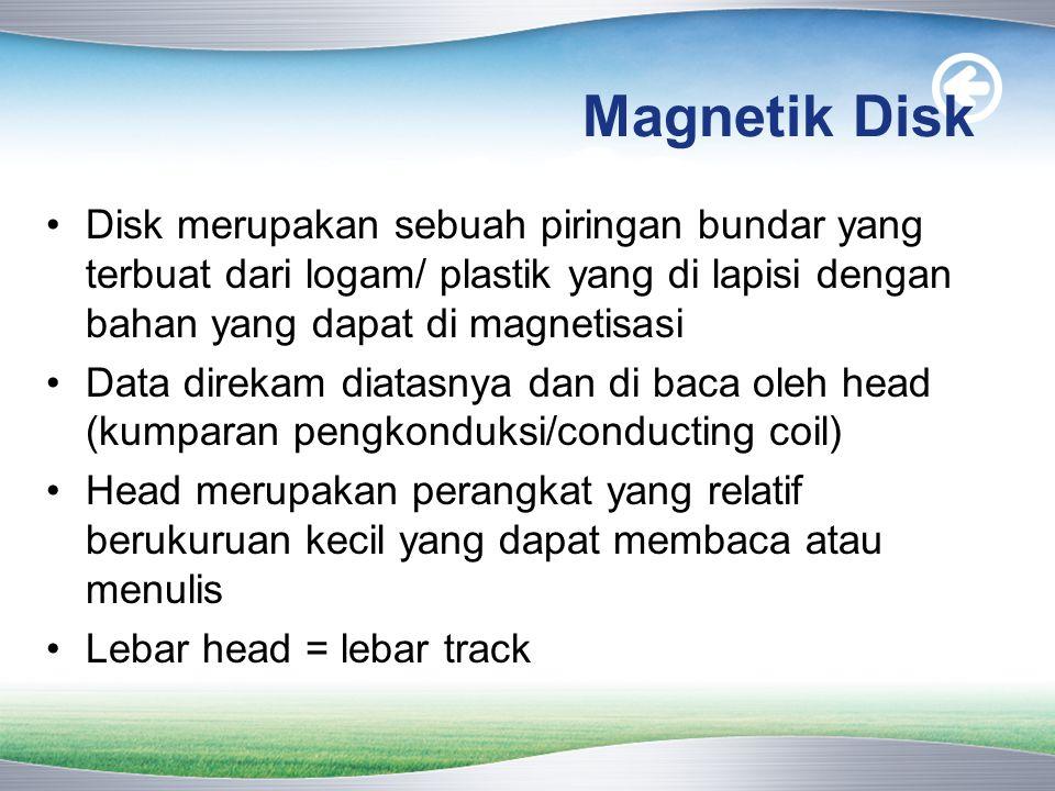 Magnetik Disk Disk merupakan sebuah piringan bundar yang terbuat dari logam/ plastik yang di lapisi dengan bahan yang dapat di magnetisasi.
