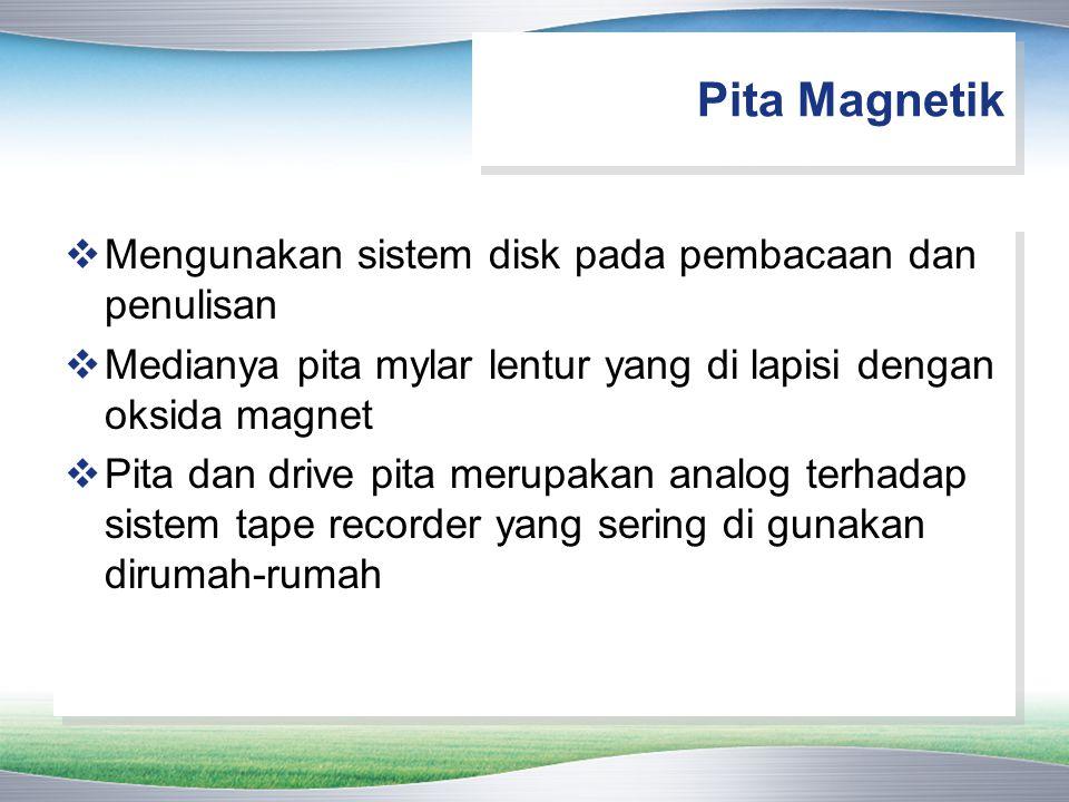 Pita Magnetik Mengunakan sistem disk pada pembacaan dan penulisan