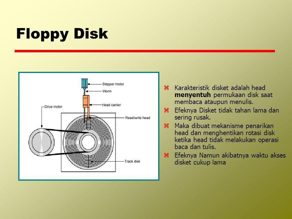 Floppy Disk Karakteristik disket adalah head menyentuh permukaan disk saat membaca ataupun menulis.