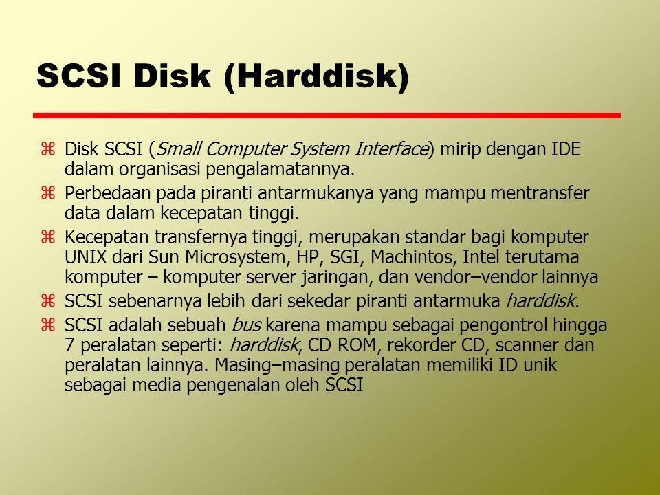 SCSI Disk (Harddisk) Disk SCSI (Small Computer System Interface) mirip dengan IDE dalam organisasi pengalamatannya.