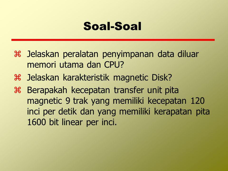 Soal-Soal Jelaskan peralatan penyimpanan data diluar memori utama dan CPU Jelaskan karakteristik magnetic Disk