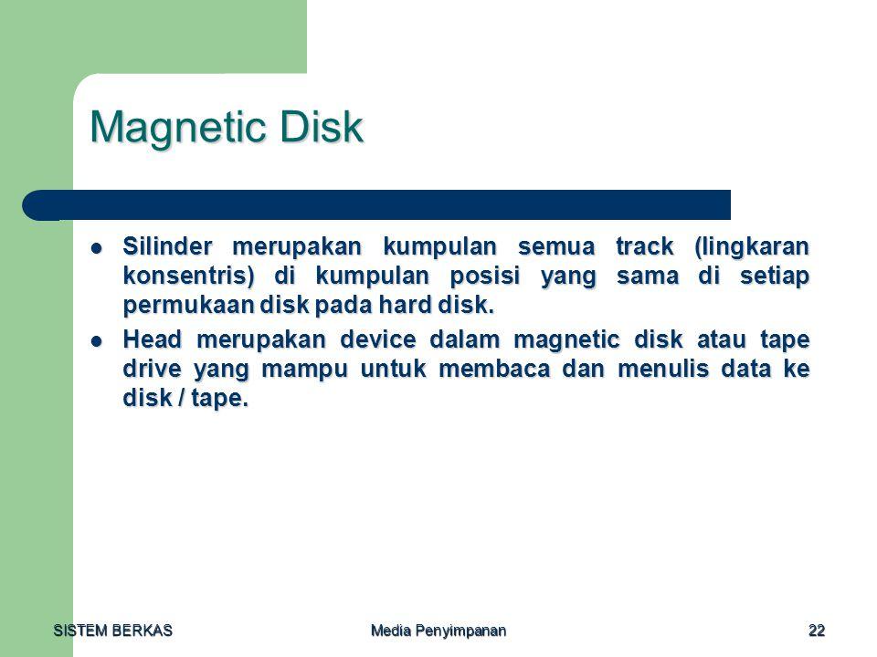 Magnetic Disk Silinder merupakan kumpulan semua track (lingkaran konsentris) di kumpulan posisi yang sama di setiap permukaan disk pada hard disk.
