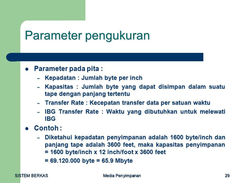 Parameter pengukuran Parameter pada pita : Contoh :