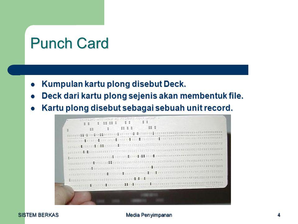 Punch Card Kumpulan kartu plong disebut Deck.