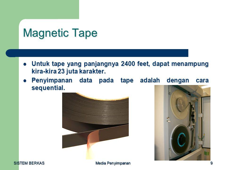 Magnetic Tape Untuk tape yang panjangnya 2400 feet, dapat menampung kira-kira 23 juta karakter.