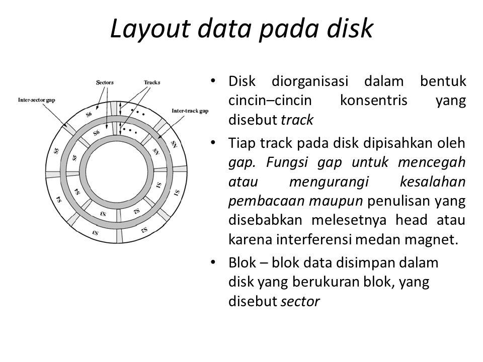Layout data pada disk Disk diorganisasi dalam bentuk cincin–cincin konsentris yang disebut track.