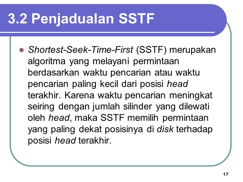 3.2 Penjadualan SSTF