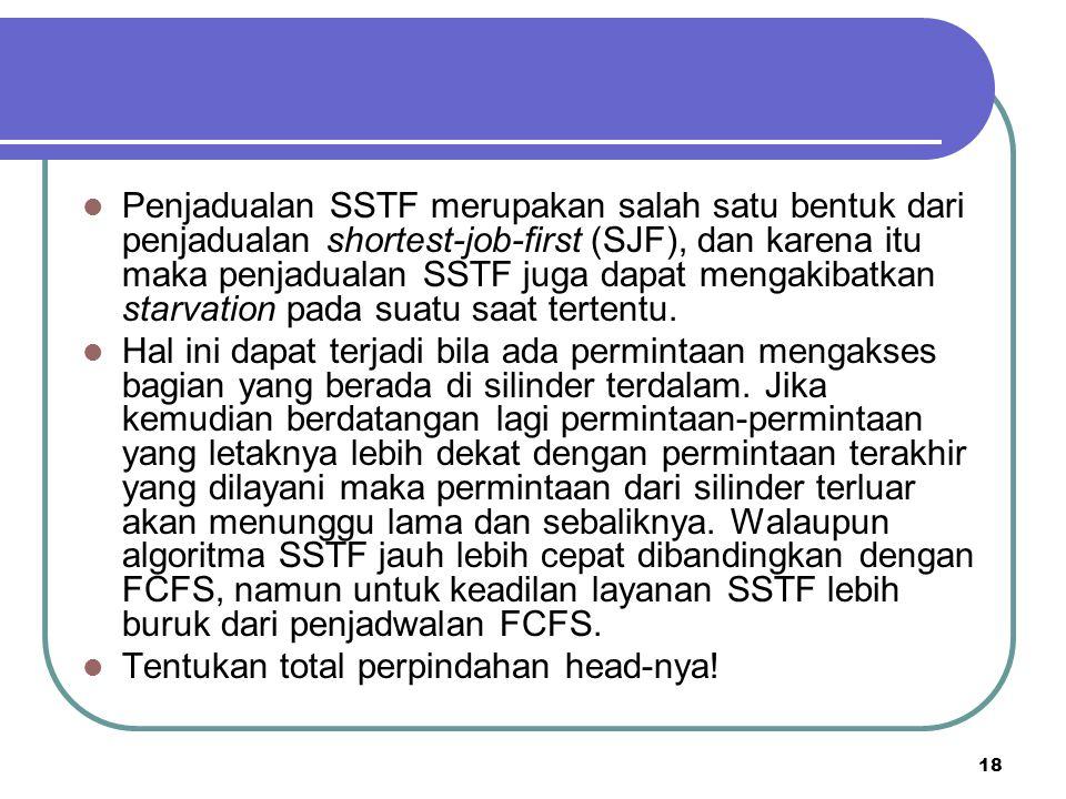 Penjadualan SSTF merupakan salah satu bentuk dari penjadualan shortest-job-first (SJF), dan karena itu maka penjadualan SSTF juga dapat mengakibatkan starvation pada suatu saat tertentu.