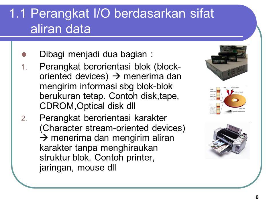 1.1 Perangkat I/O berdasarkan sifat aliran data