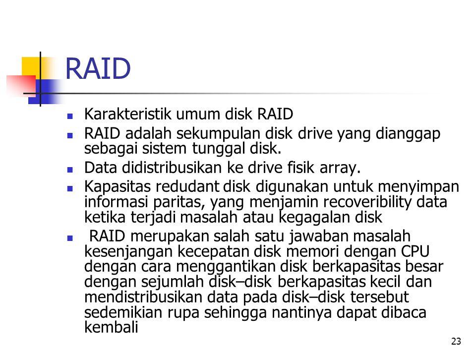 RAID Karakteristik umum disk RAID