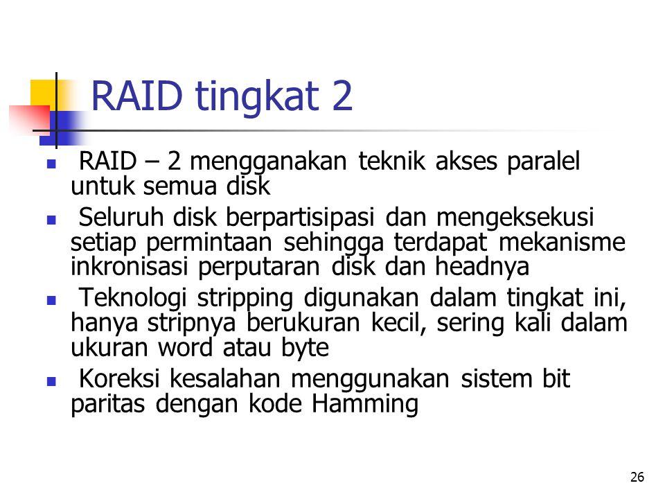 RAID tingkat 2 RAID – 2 mengganakan teknik akses paralel untuk semua disk.