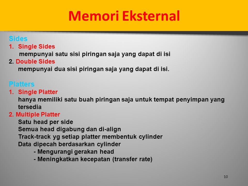 Memori Eksternal Sides Platters Single Sides