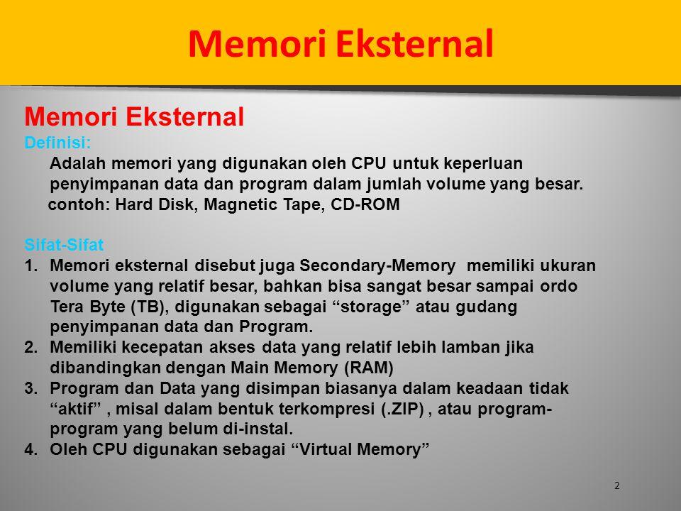 Memori Eksternal Memori Eksternal Definisi: