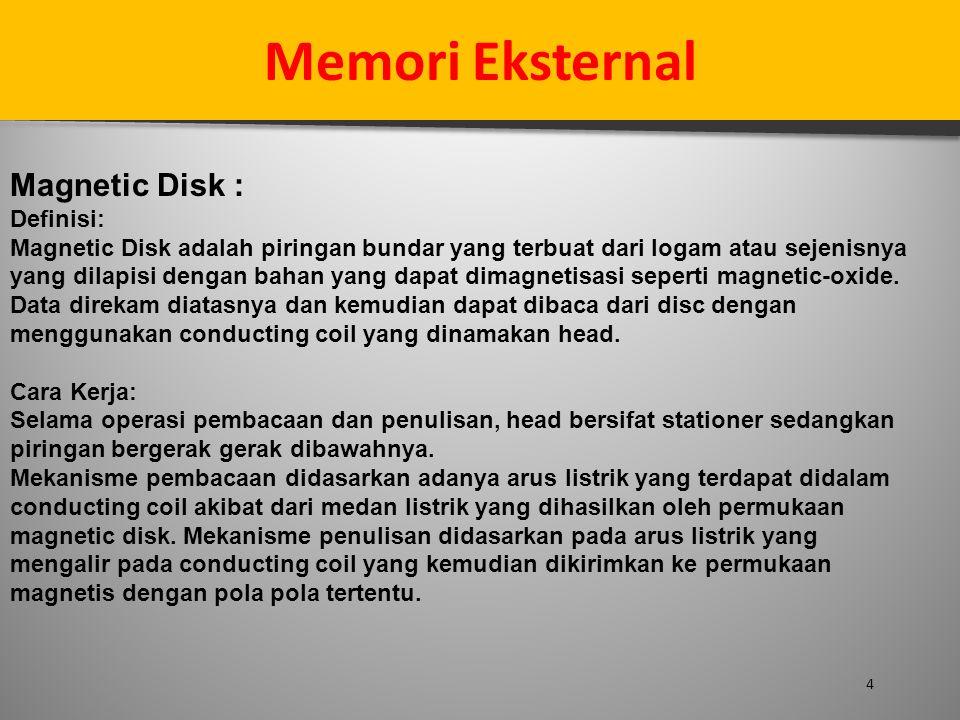 Memori Eksternal Magnetic Disk : Definisi: