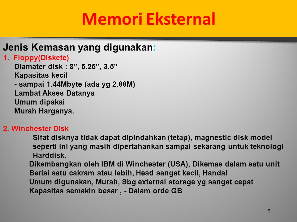 Memori Eksternal Jenis Kemasan yang digunakan: 1. Floppy(Diskete)