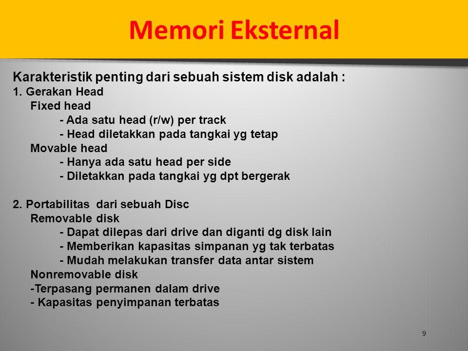 Memori Eksternal Karakteristik penting dari sebuah sistem disk adalah : 1. Gerakan Head. Fixed head.