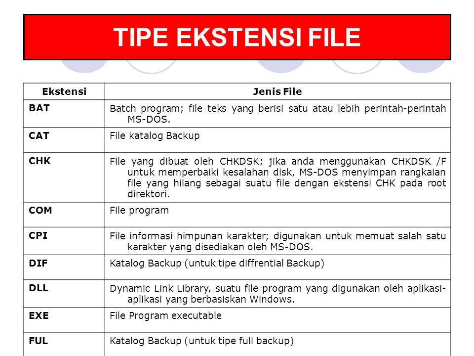 TIPE EKSTENSI FILE Ekstensi Jenis File BAT