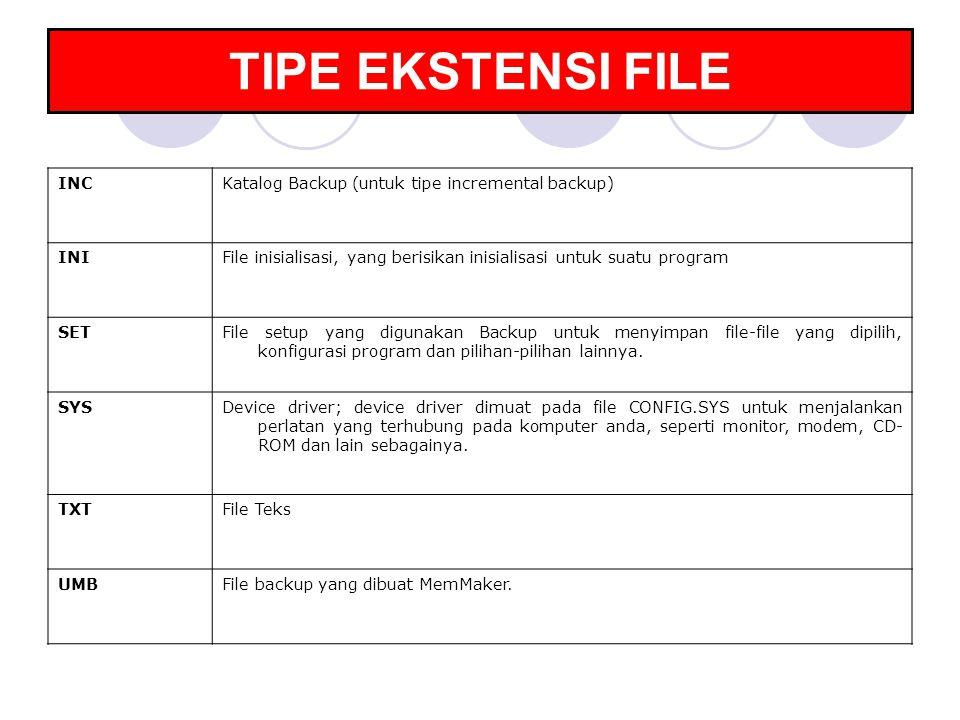TIPE EKSTENSI FILE INC Katalog Backup (untuk tipe incremental backup)