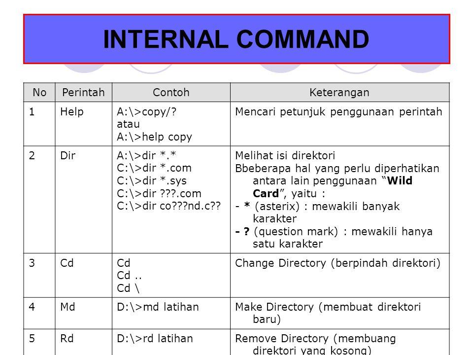INTERNAL COMMAND No Perintah Contoh Keterangan 1 Help A:\>copy/