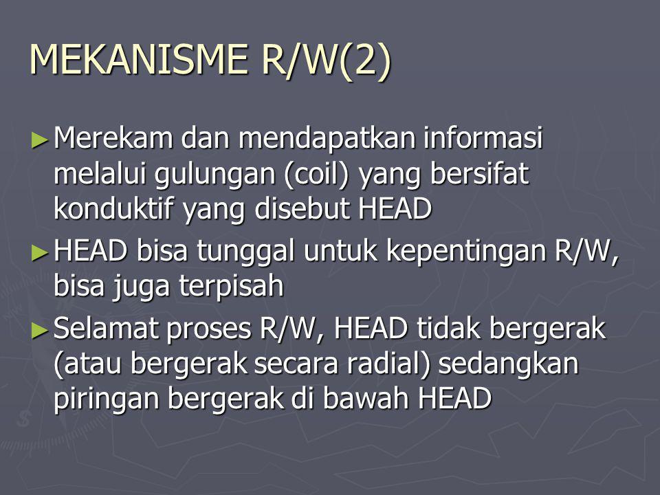 MEKANISME R/W(2) Merekam dan mendapatkan informasi melalui gulungan (coil) yang bersifat konduktif yang disebut HEAD.