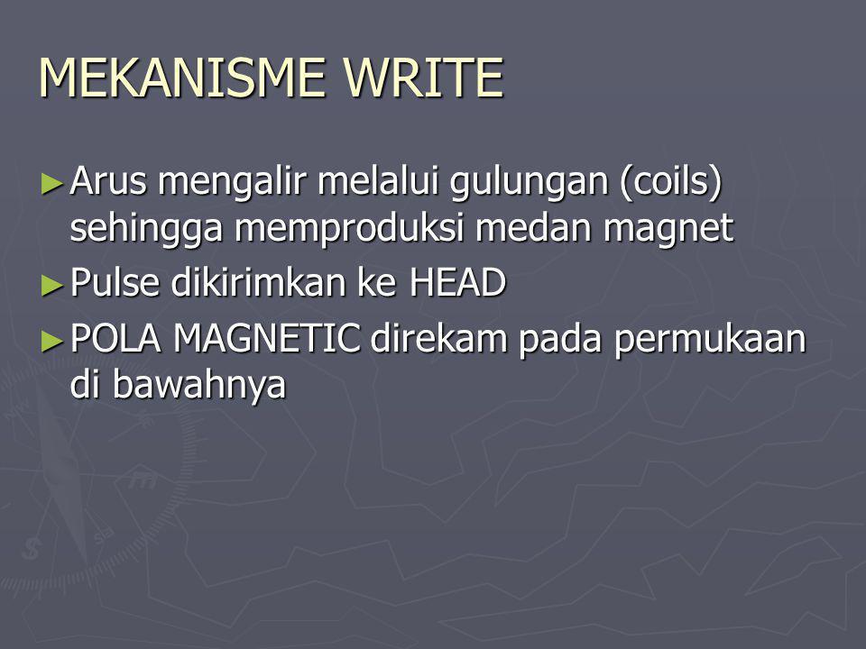 MEKANISME WRITE Arus mengalir melalui gulungan (coils) sehingga memproduksi medan magnet. Pulse dikirimkan ke HEAD.