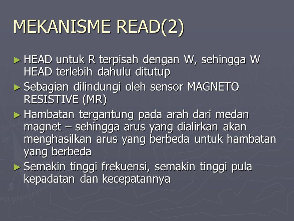 MEKANISME READ(2) HEAD untuk R terpisah dengan W, sehingga W HEAD terlebih dahulu ditutup. Sebagian dilindungi oleh sensor MAGNETO RESISTIVE (MR)