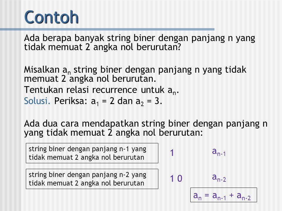 Contoh Ada berapa banyak string biner dengan panjang n yang tidak memuat 2 angka nol berurutan