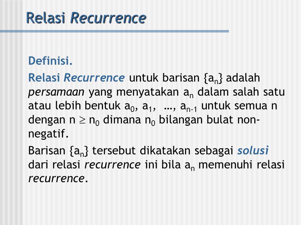 Relasi Recurrence Definisi.
