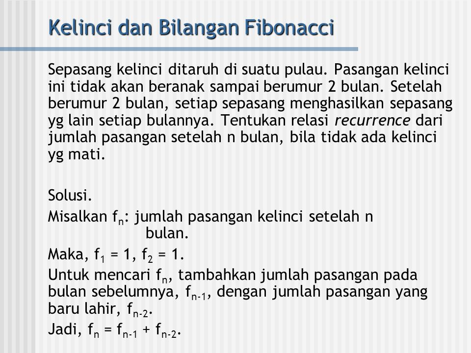 Kelinci dan Bilangan Fibonacci