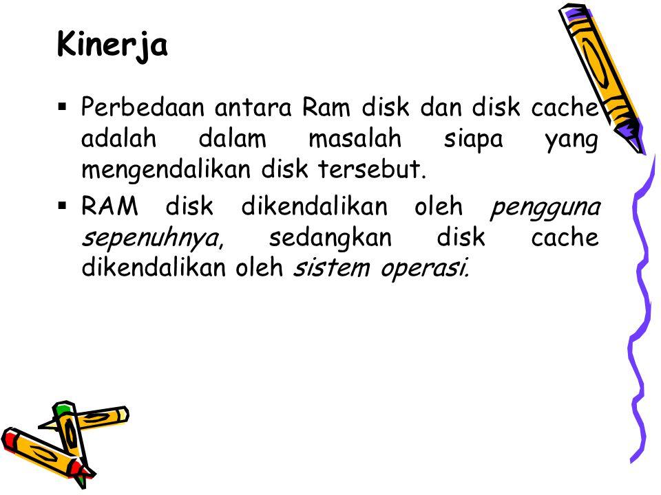 Kinerja Perbedaan antara Ram disk dan disk cache adalah dalam masalah siapa yang mengendalikan disk tersebut.