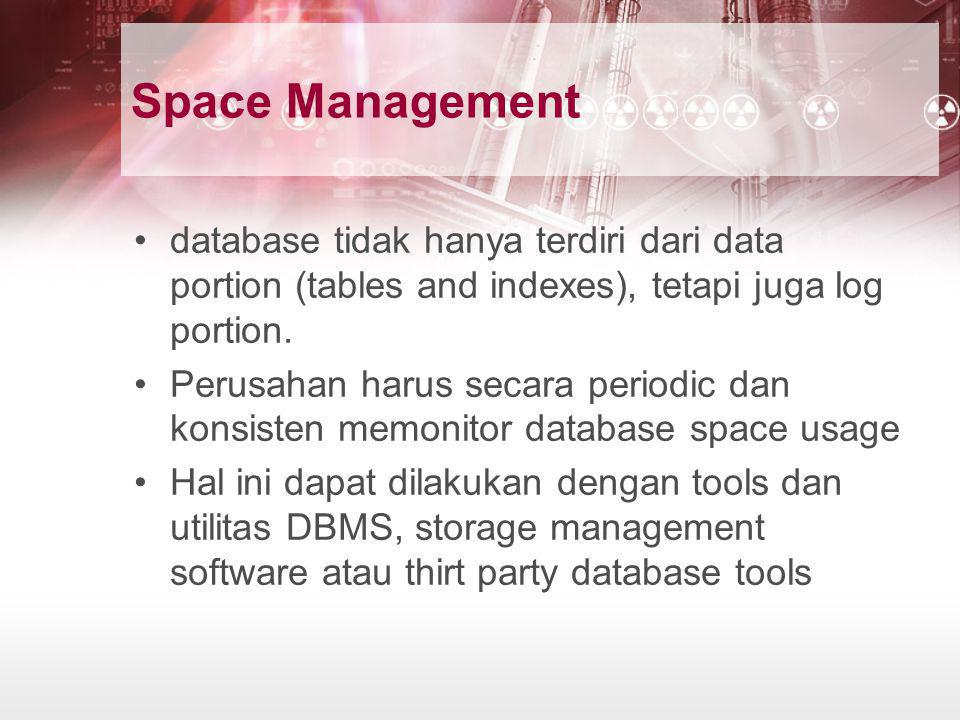 Space Management database tidak hanya terdiri dari data portion (tables and indexes), tetapi juga log portion.