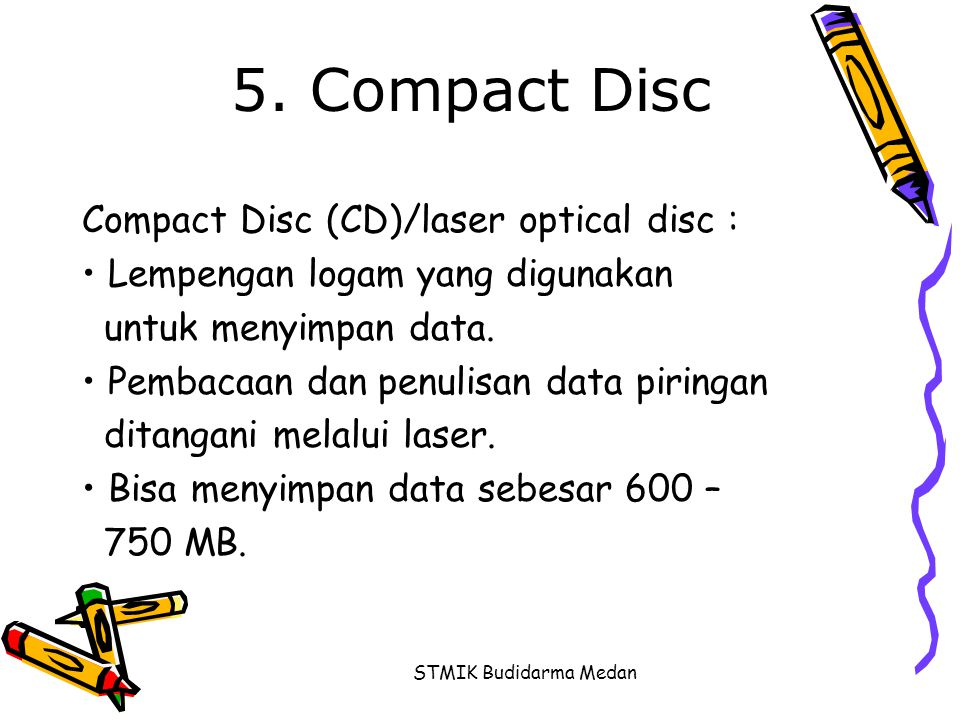 5. Compact Disc Compact Disc (CD)/laser optical disc :