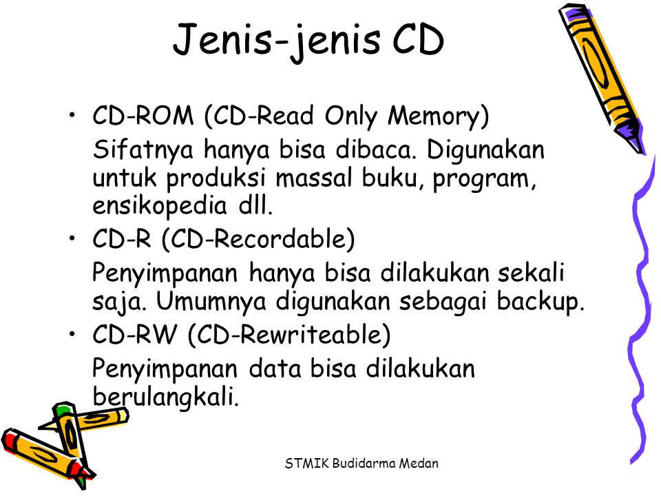 Jenis-jenis CD CD-ROM (CD-Read Only Memory)