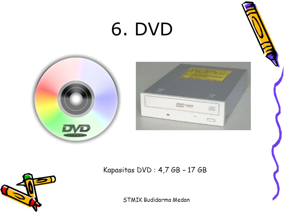 6. DVD Kapasitas DVD : 4,7 GB – 17 GB STMIK Budidarma Medan