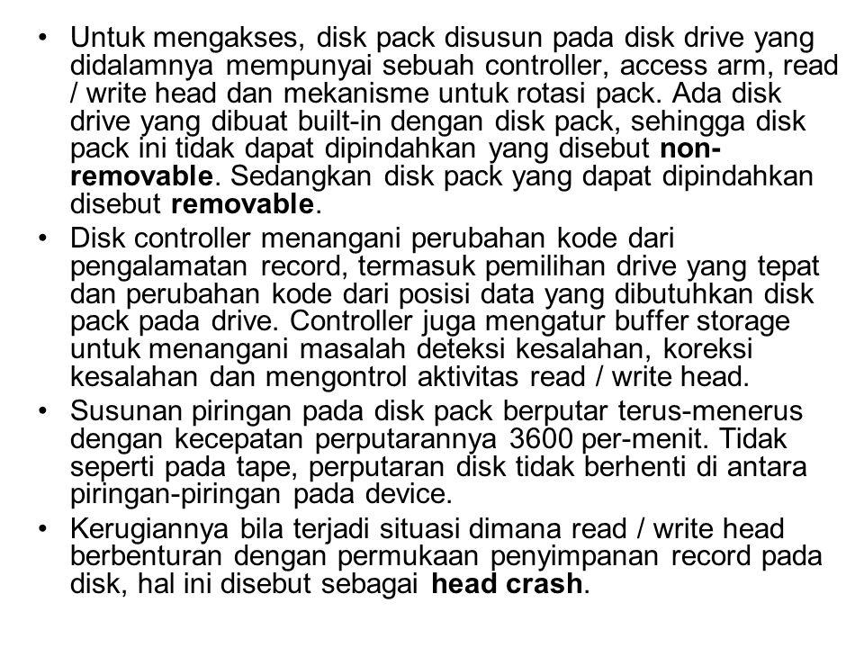 Untuk mengakses, disk pack disusun pada disk drive yang didalamnya mempunyai sebuah controller, access arm, read / write head dan mekanisme untuk rotasi pack. Ada disk drive yang dibuat built-in dengan disk pack, sehingga disk pack ini tidak dapat dipindahkan yang disebut non-removable. Sedangkan disk pack yang dapat dipindahkan disebut removable.
